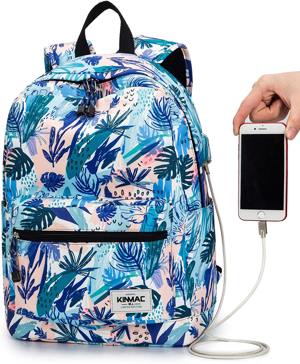 Kinmac Sea Grass Pattern 15 inch Waterproof Laptop Travel Outdoor Backpack with USB Charging Port for 13 inch 14 inch and 15.6 inch Laptop