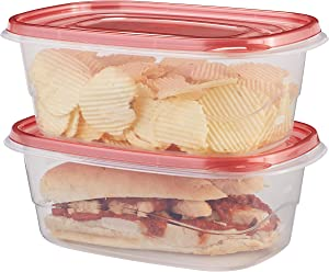 Rubbermaid TakeAlongs Deep Rectangular Food Storage Containers, 8 Cup, Tint Chili, 2 Count 1927006