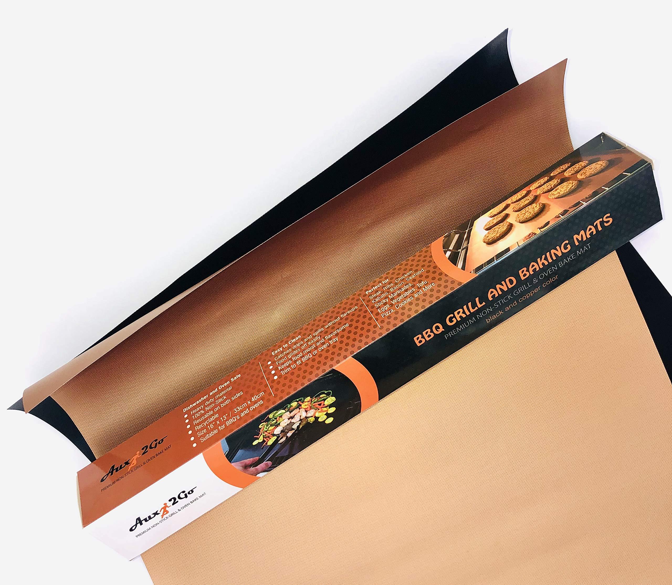 AUX2GO Copper Baking Mats | Premium Non-Stick Sheets | Best Durable Grilling Accessory | Reusable Easy Clean | Set of 2