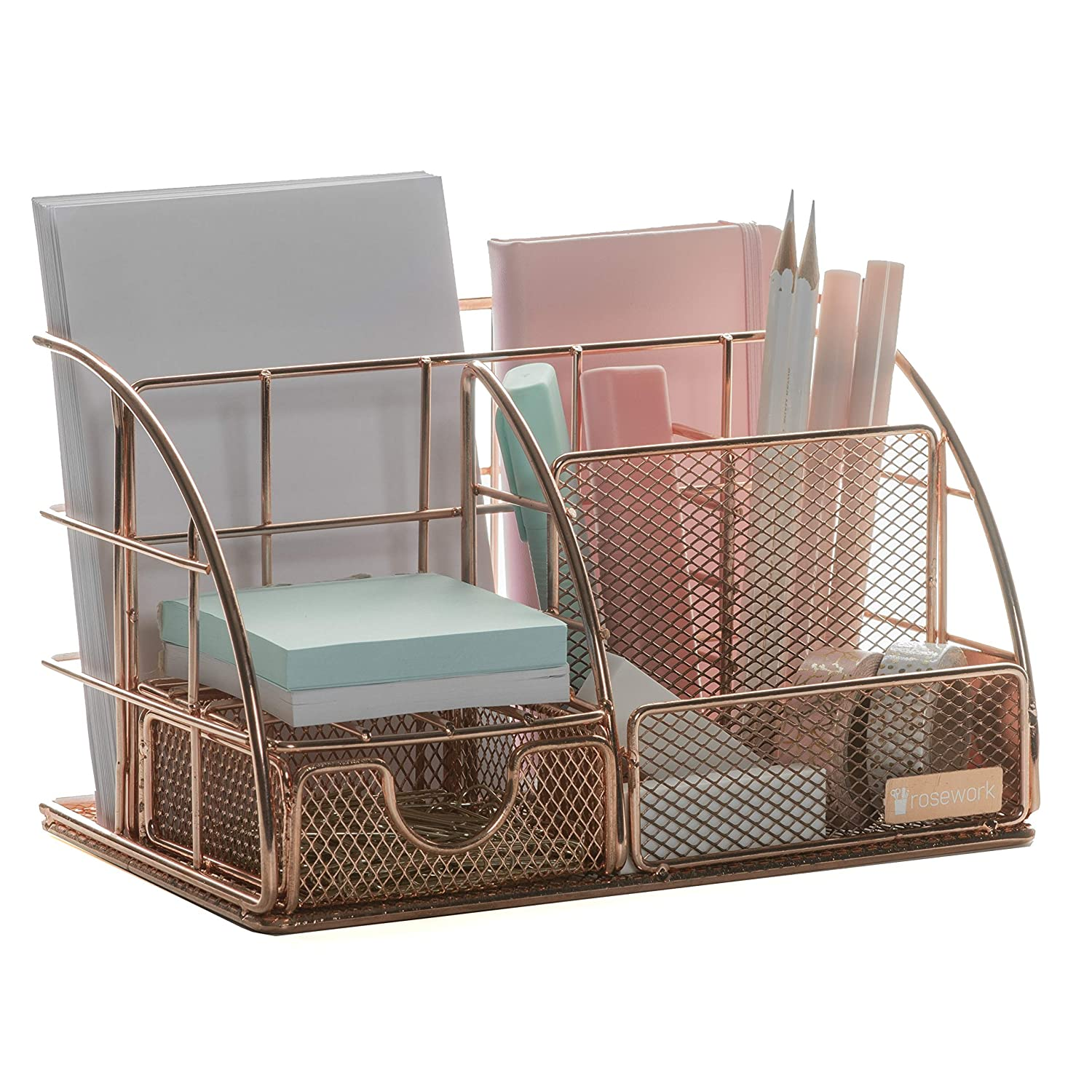 Rose Gold Desk Organizer for Women, All in one Design for Girly Office Supplies in Pink, Desktop Organizer and Accessories for File Organizer, Magazine Holder, Paper Tray, Desk Decor (Rosegold)
