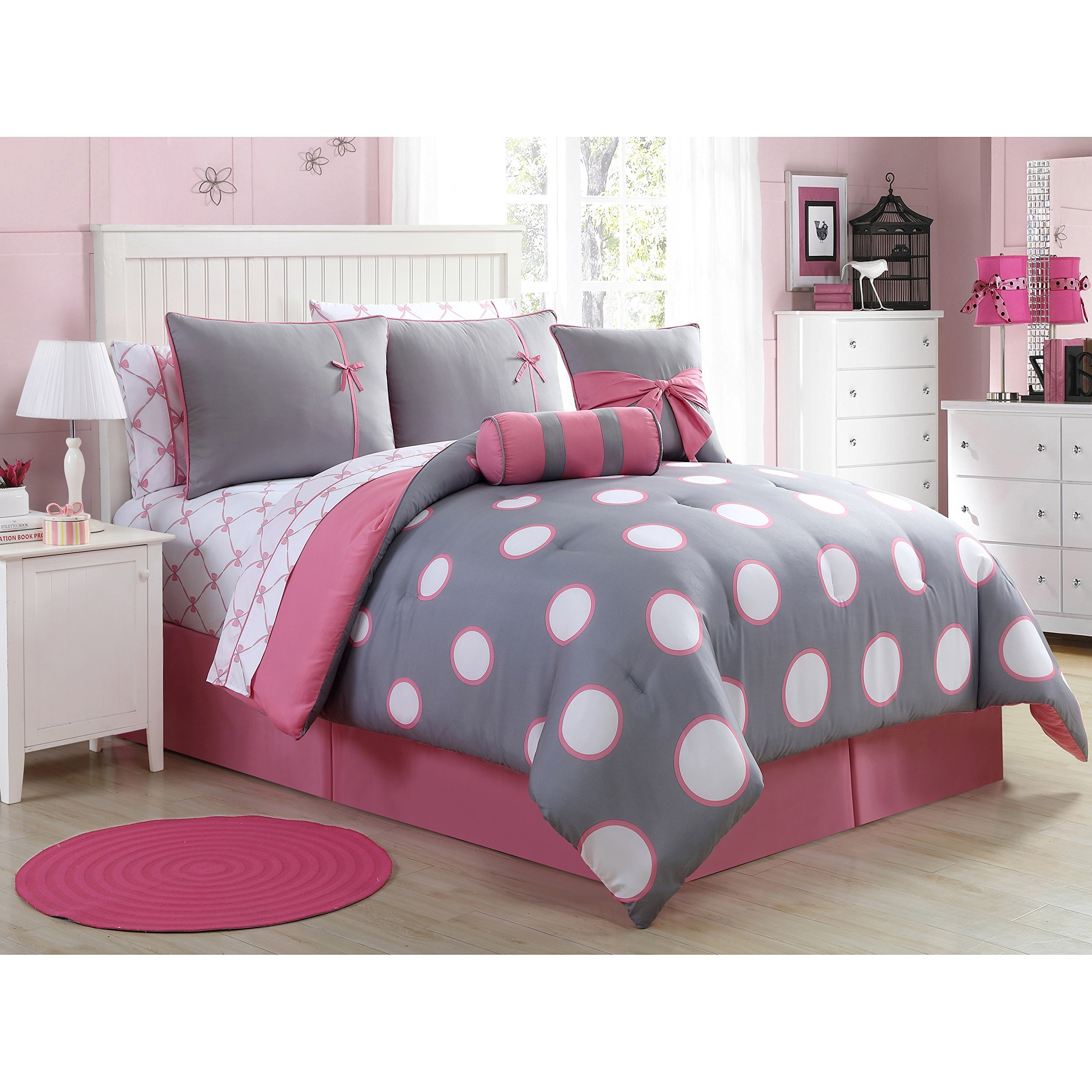 Teen Girl Comforter Sets Pink and Gray Polka Dot Bed in a Bag with Designer Home Sleep Mask (Full Pink/Gray)