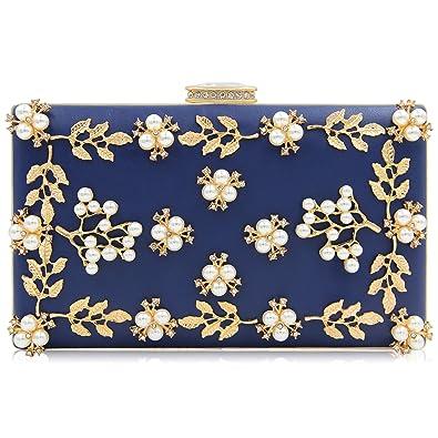 Milisente Pearls Clutch Bags Women Beaded Evening Bag Clutch Handbag (Navy  Blue) a7daf2a92229