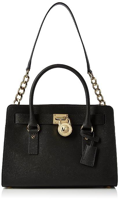 405a952392c7 Michael Kors Women s Medium Hamilton Saffiano Leather Satchel Leather  Top-Handle Tote - Black