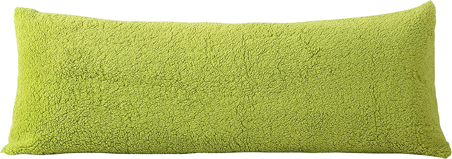 """Reafort Ultra Soft Sherpa Body Pillow Cover/Case with Zipper Closure 21""""x54""""(Lime, 21""""X54"""" Pillow Cover)"""