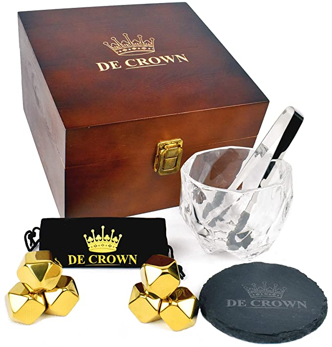 Gold Diamond Cut Whiskey Stones and Glass Gift Set for Men - Crystal Drinking Cup, 6 Fancy Chilling Rocks, Slate Table Coaster | Cool Scotch Bourbon | Great for Husband Anniversary Birthday Retirement