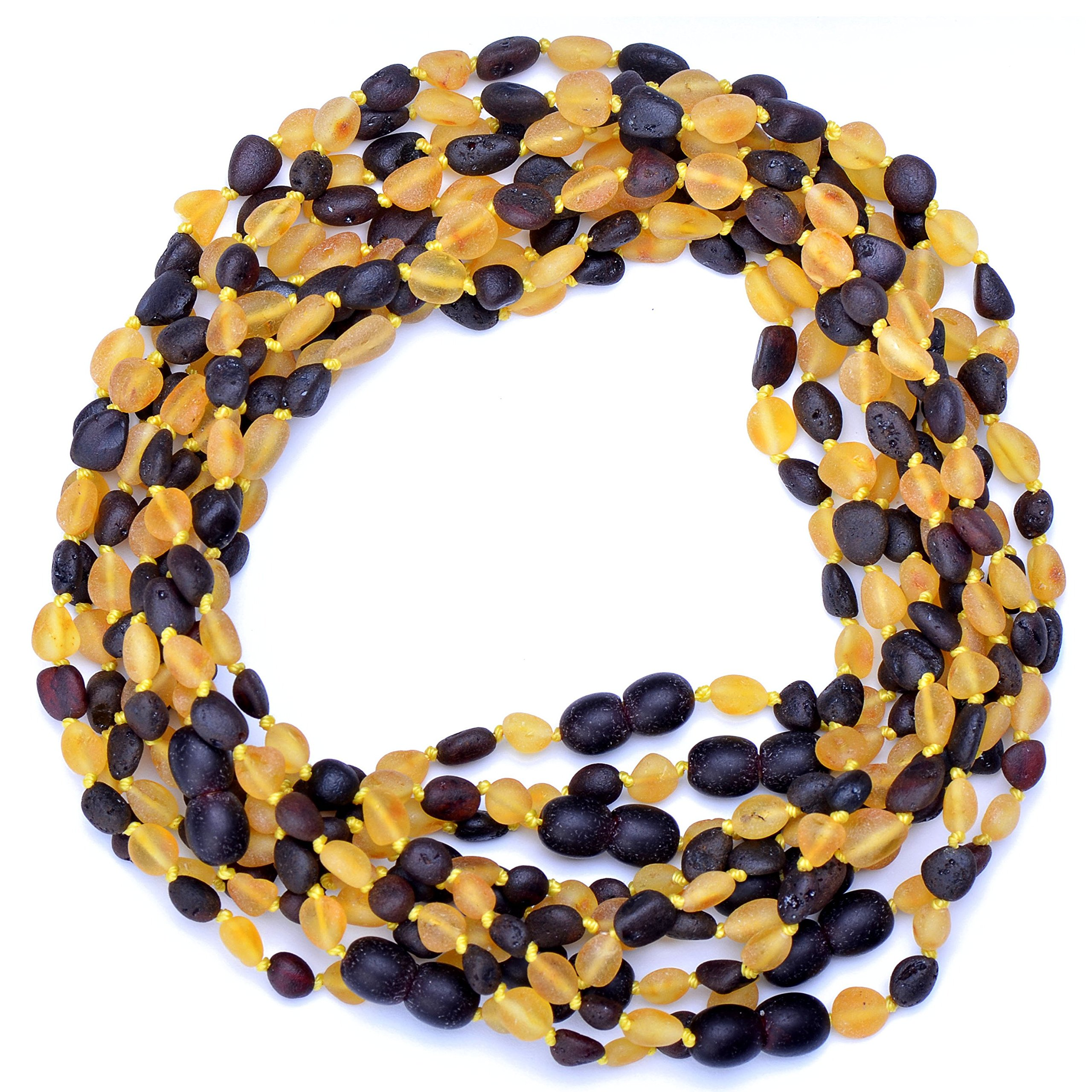 Amber Wholesale - 10 Hand Made Baltic Amber Teething Necklaces for Babies - Safety Knotted - Beans Shape - Raw