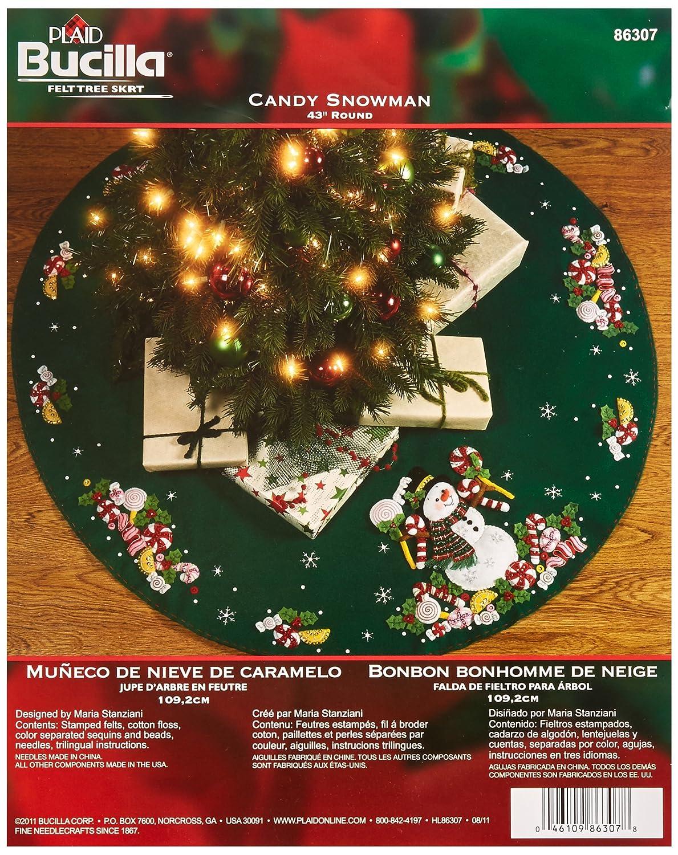 Bucilla Candy Snowman Tree Skirt Felt Applique Kit, 86307 43-Inch Round Plaid Inc dimensions needlecrafts holiday stitchery