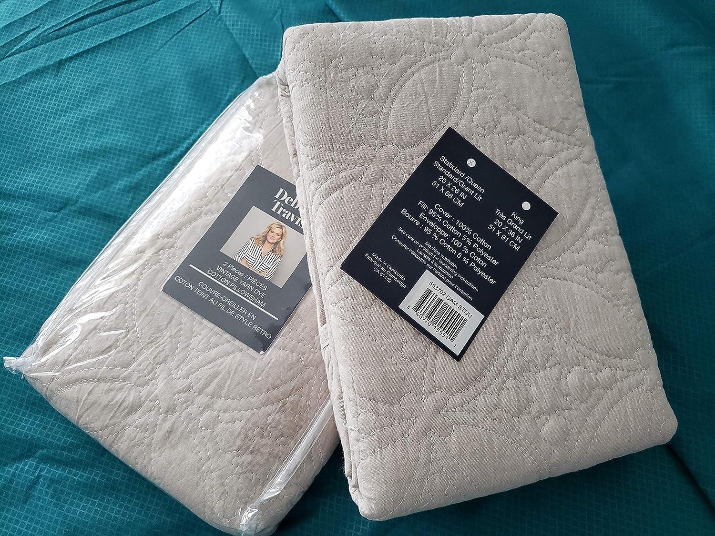 Ivory Debbie Travis 2 Pieces Vintage Yarn Dye Cotton Pillow sham Size Standard//Queen 20 x 26 in.