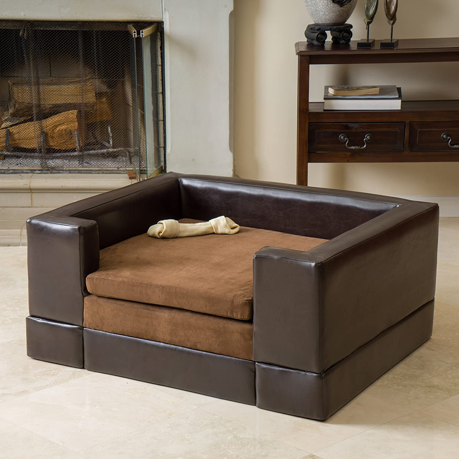 Amazon.com: Rover Large Chocolate Brown Leather Pet Sofa Bed: Health ...