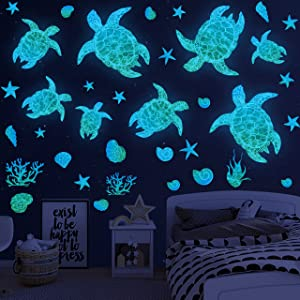 Sea Turtle Wall Decals Stickers Glow in The Dark Wall Decals Vinyl Ocean Wall Decals Under The Sea Turtle Bathroom Wall Decor for Kids Sea Life Wall Decor for Bedroom Nursery Birthday Gifts