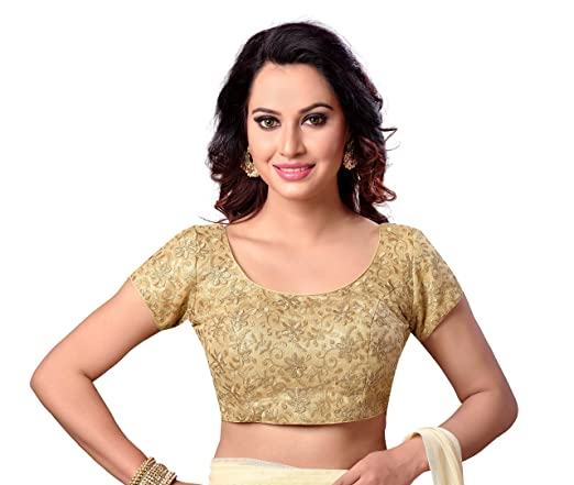 STUDIO SHRINGAAR LATEST GOLDEN FULLY EMBROIDERED READYMADE STITCHED CAP SLEEVE SAREE BLOUSE FOR WOMEN. Blouses at amazon