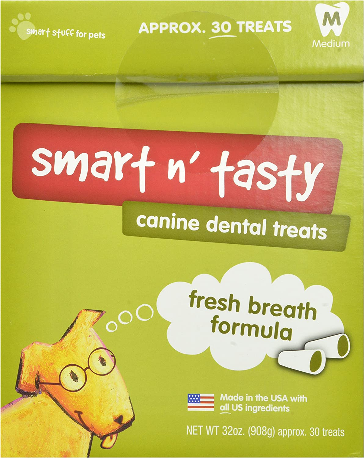 Smart N Tasty 32-Ounce Fresh Breath Dental Treats, Medium
