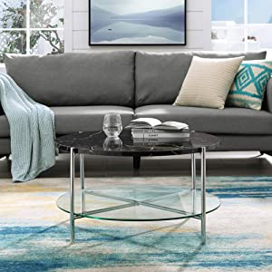 Walker Edison Modern Metal Round Coffee Accent Table Living Room, 32 Inch, Black Marble