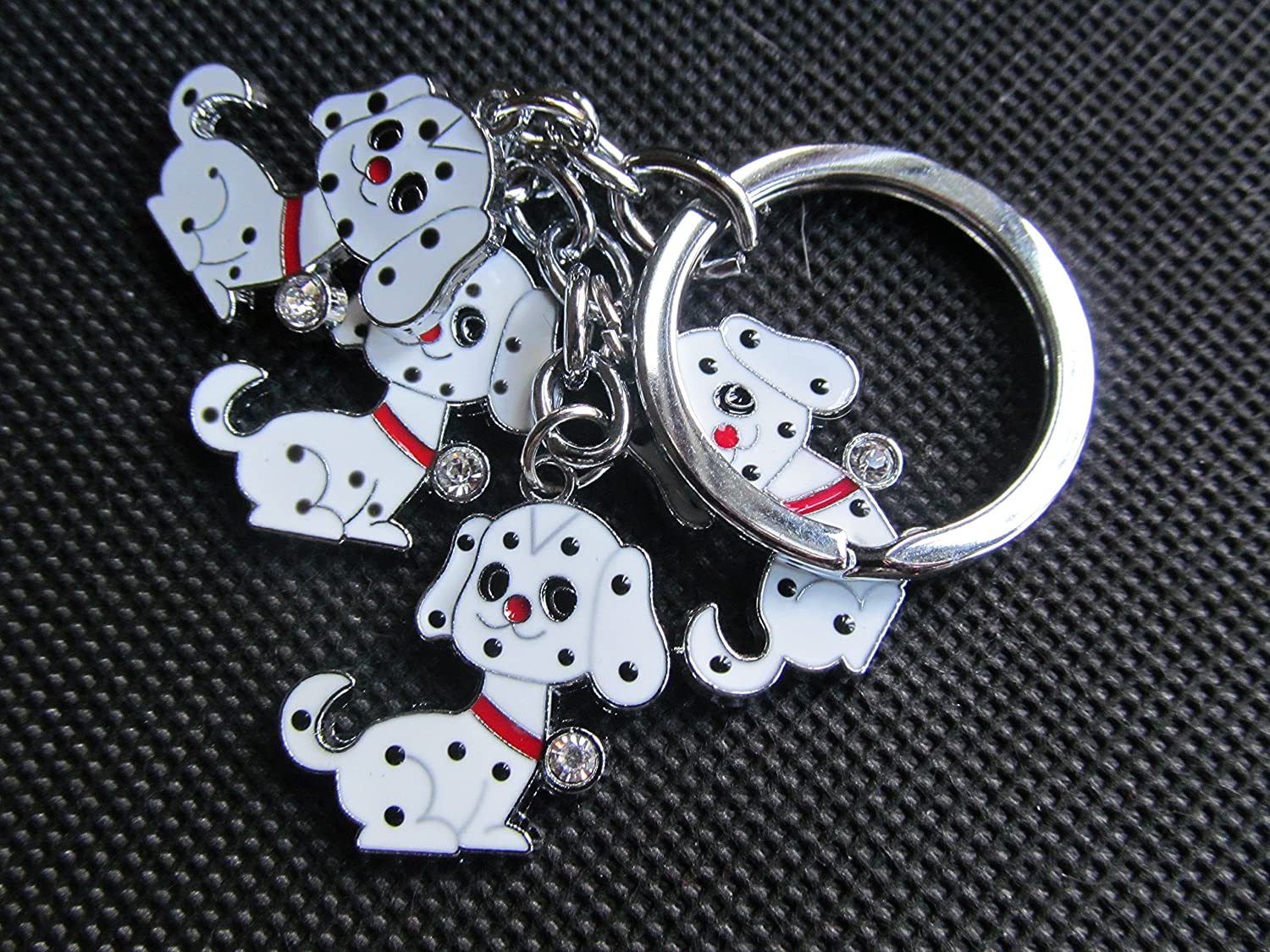 4 piece dalmatian dogs keyring key chain handbag charm - by Fat-catz-copy-catz 4 piece dalmation