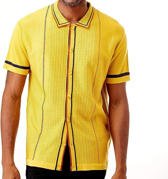 1970s Men's Clothes, Fashion, Outfits Men's Short Sleeve Knit Sports Shirt - Modern Polo Vintage Classics: Multi Stripes $39.00 AT vintagedancer.com
