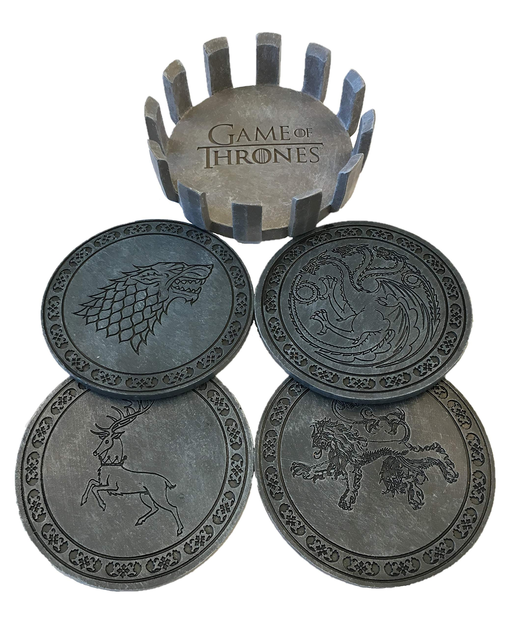Game of Thrones Drink Coaster Set with Holder- House Sigil Beverage Coasters - Set of Four Faux Sandstone Coasters- Cork Backed