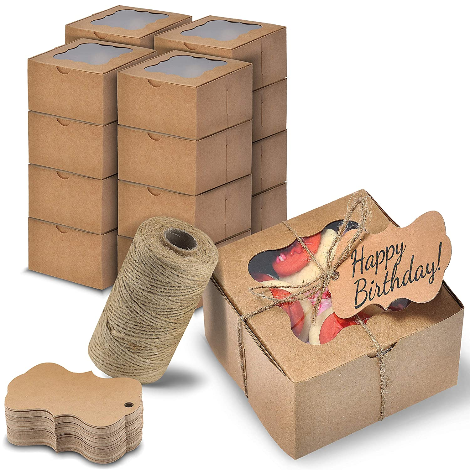 Golden Ber Kraft Pastry Boxes with Window - 50pcs. 4x4x2.5 inches/Can Be Used as Treat Boxes, Small Bakery Boxes, Gift Boxes, Dessert Boxes, Cookie Boxes, Strawberry Box, Candy Boxes Packaging/Brown, Easy to Assemble/Includes Jute Twine and Tags