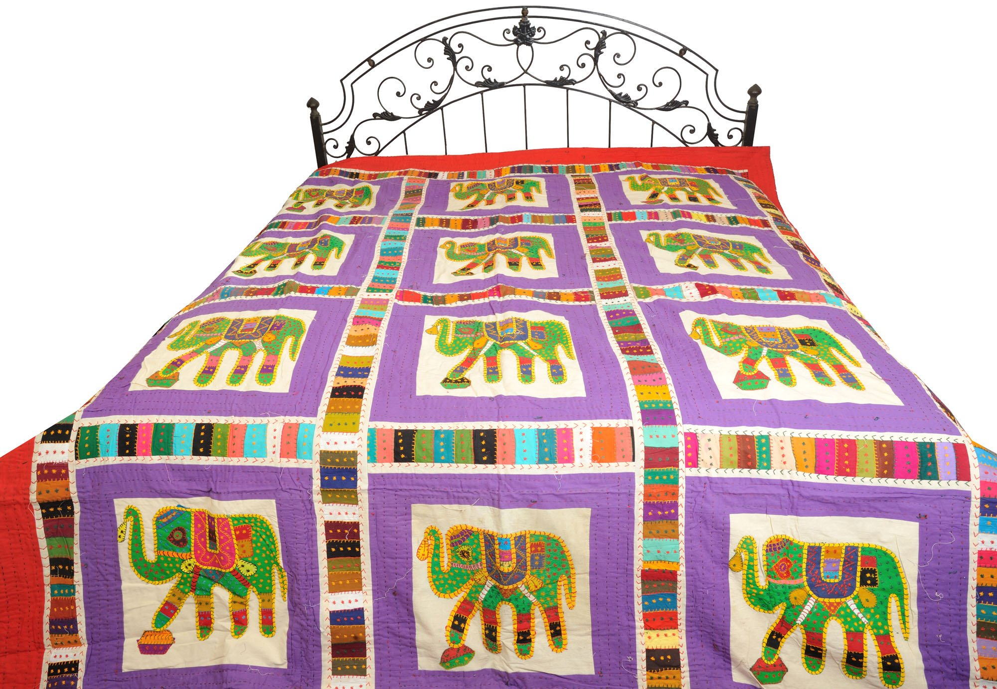 Ultra-Violet Bedcover from Jodhpur with Applique Elephants and Kantha Stitch - Pure Cotton