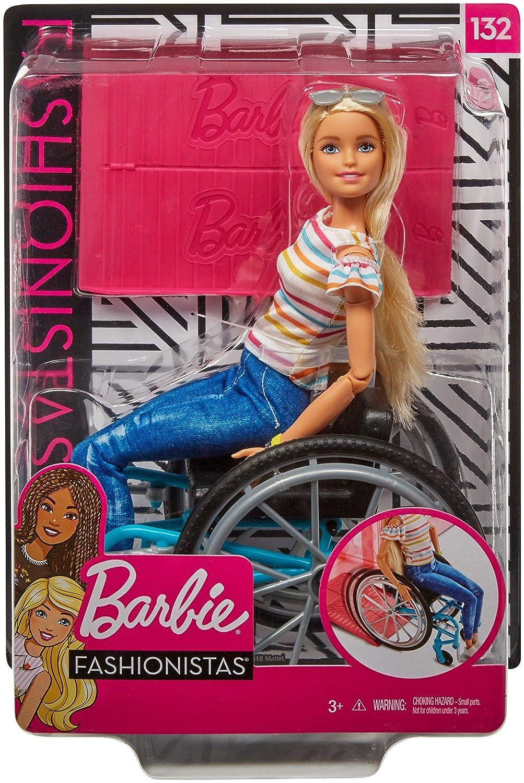 Jouet pour Enfant avec Haut Ray/é Barbie Fashionistas Poup/ée Mannequin #132 Blonde en Fauteuil Roulant Jeans et Baskets Blanches Ggl22