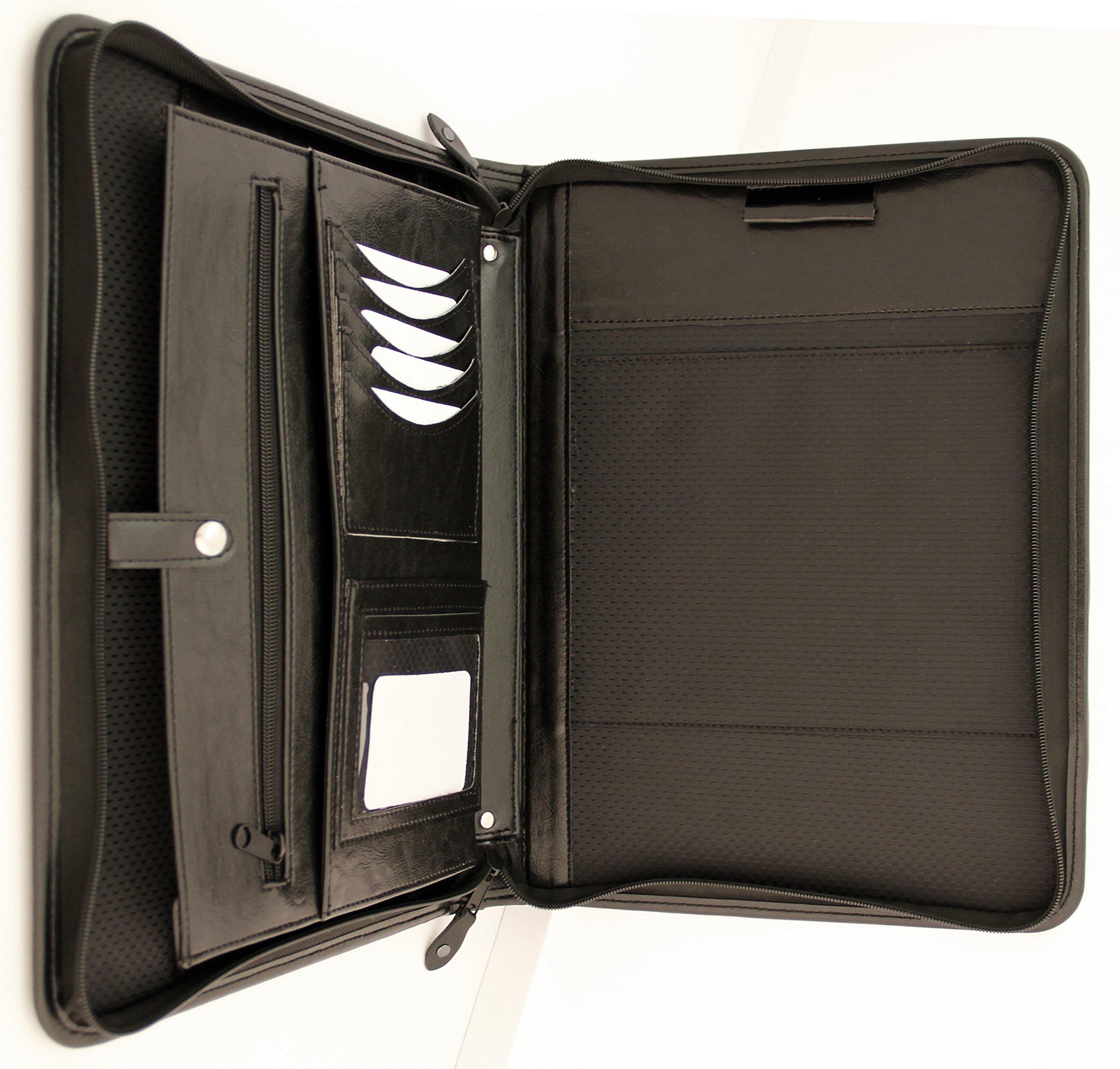Noda Executive PU Leather Padfolio Professional Business Portfolio w/ Zippered Closure | Resume, Document, Notepad, Tablet, Writing Pad Organizer | Men, Women (Black)