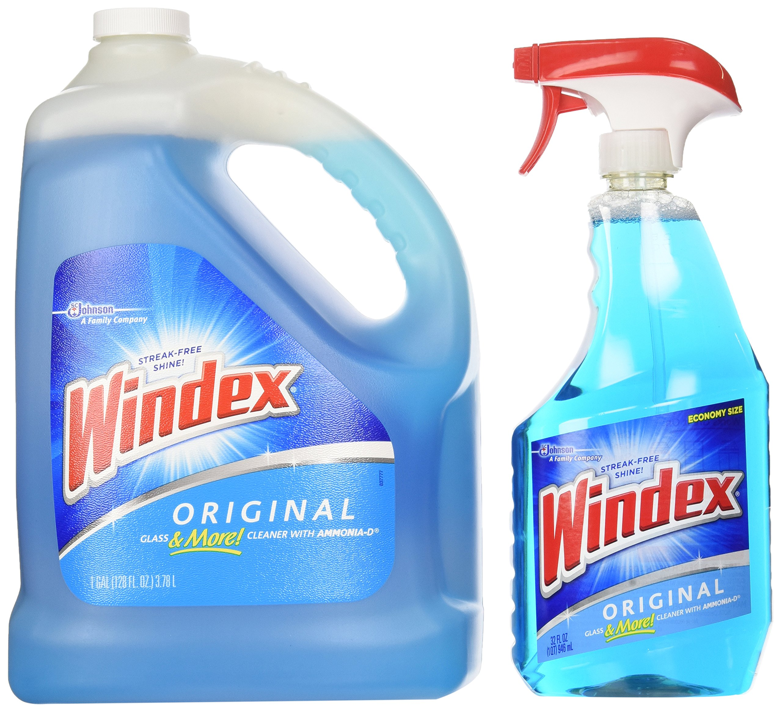Windex Original Glass & More Cleaner Trigger Spray 946mL/1 Qt + Refill 1 Gallon