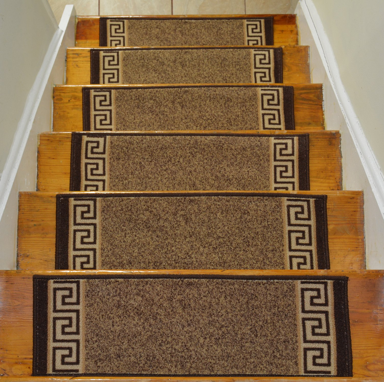 Stair Treads Skid Slip Resistant Backing Indoor Carpet Stair Treads Meander Greek Key Design 8 ½ inch x 26 ¼ inch (Set of 13, Beige Brown)