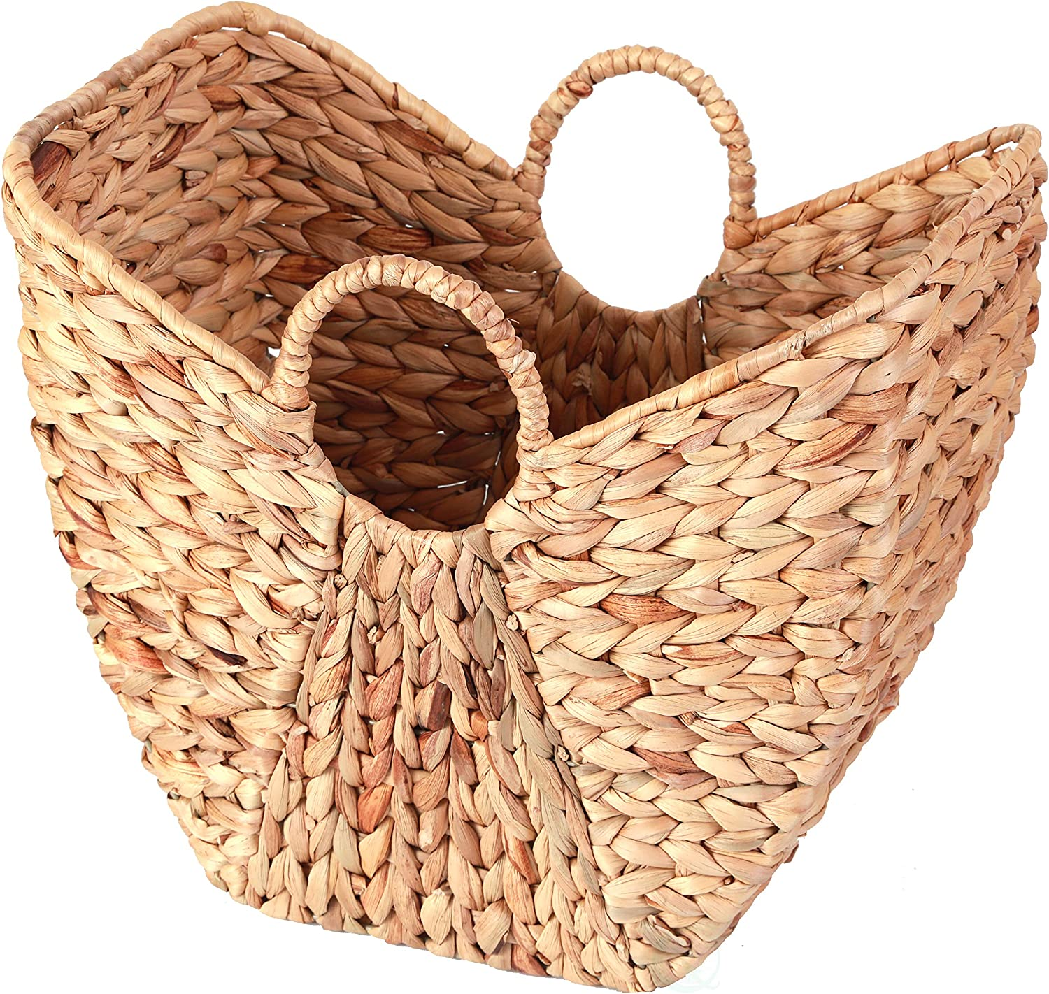 Vintiquewise QI003361.L Large Wicker Laundry Basket with Round Handles