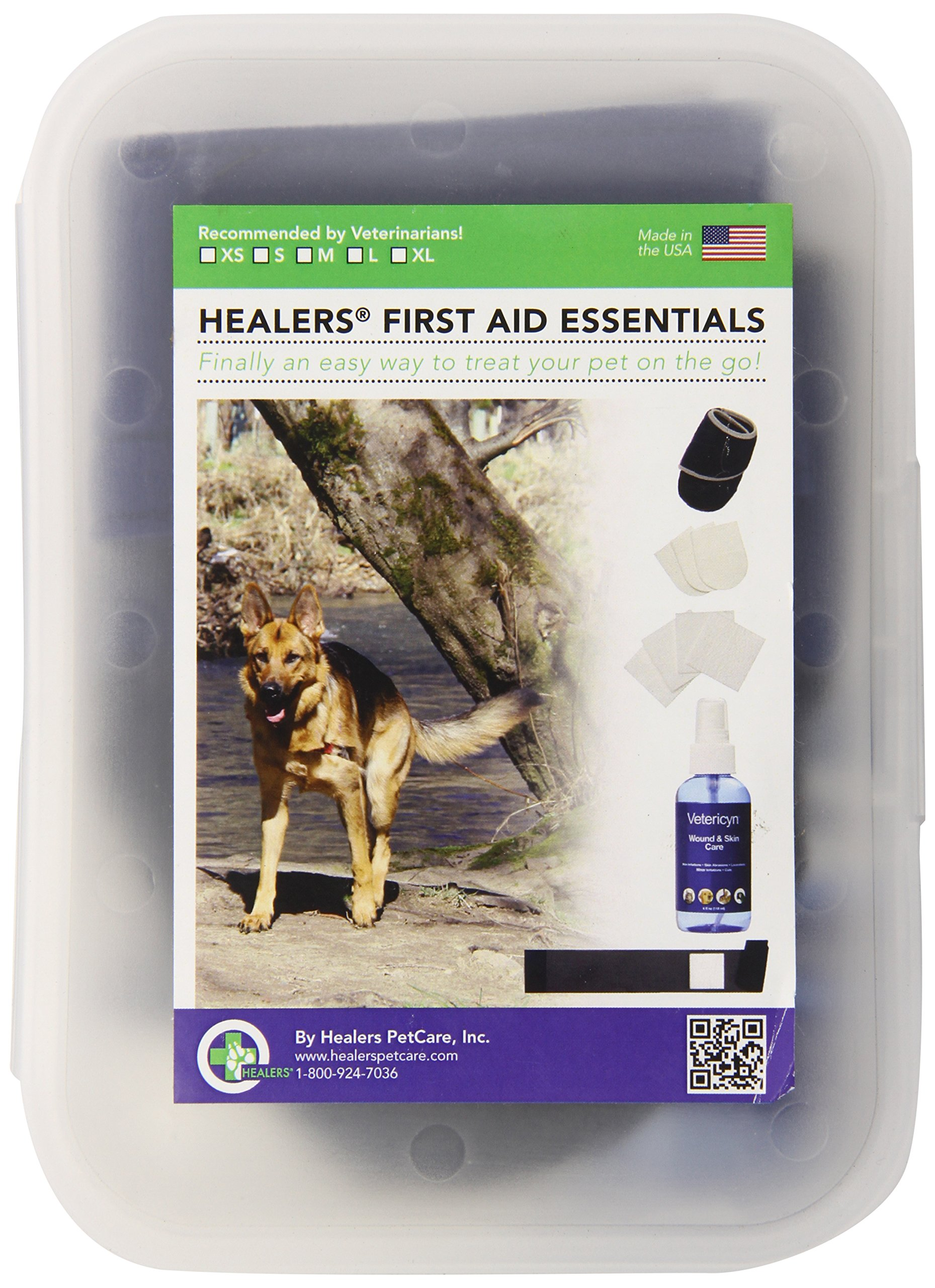 HEALERS PETCARE First Aid Essentials Kit with Vetericyn Spray for Pets, Hard Case, Large