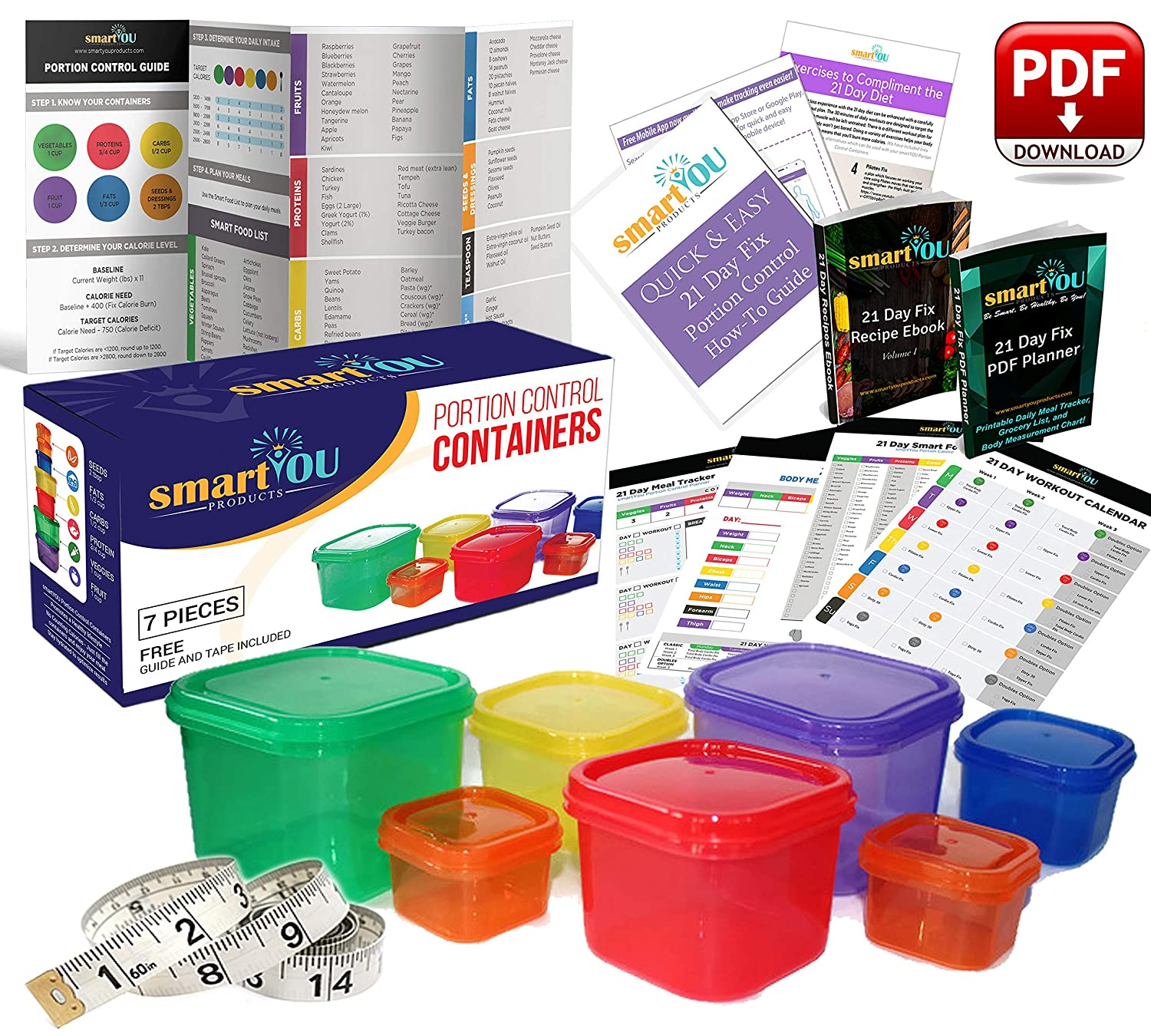 21 Day Portion Control Containers Kit - Nutrition Diet, Multi-Color Coded  Weight Loss System  Complete Guide + PDF Planner + Recipe eBook and Tape