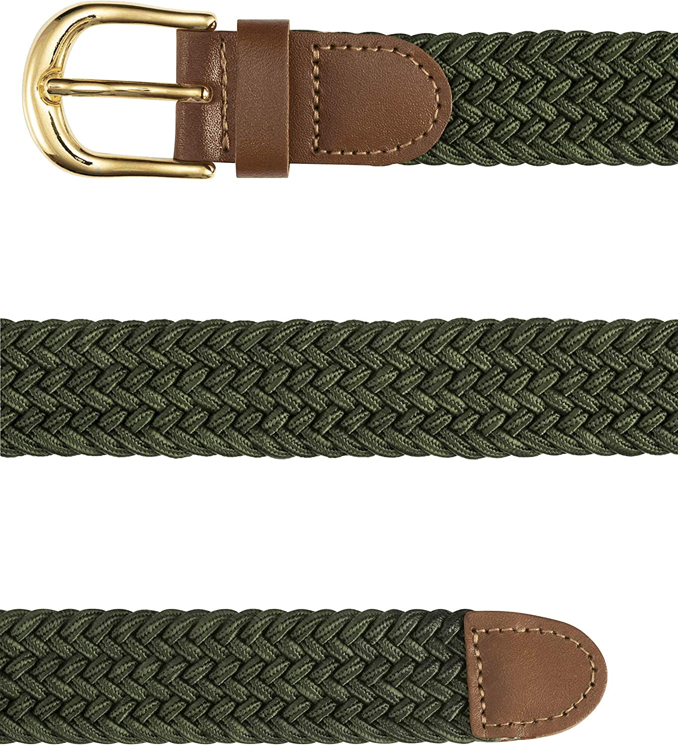 1 inch Wide with Gold Buckle. STREEZE Ladies Stretch Belts 5 Sizes Elasticated Woven Braided Fabric