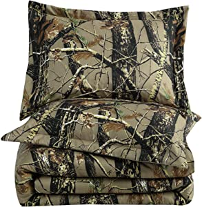 Chezmoi Collection Salem 3-Piece Forest Woods Comforter Set - Nature Camo Tree Leaves Printed Soft Microfiber Bedding - Natural, King