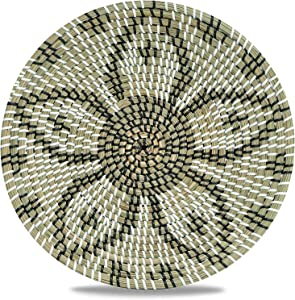 Chicnchill Boho Wall Basket - Seagrass Decorative Bowl – Modern Boho Wall Art – Multipurpose Wicker Tray For Home Or Office – Handcrafted Hanging Fruit Basket - Rustic Rattan Basket.8 (13.7 In)