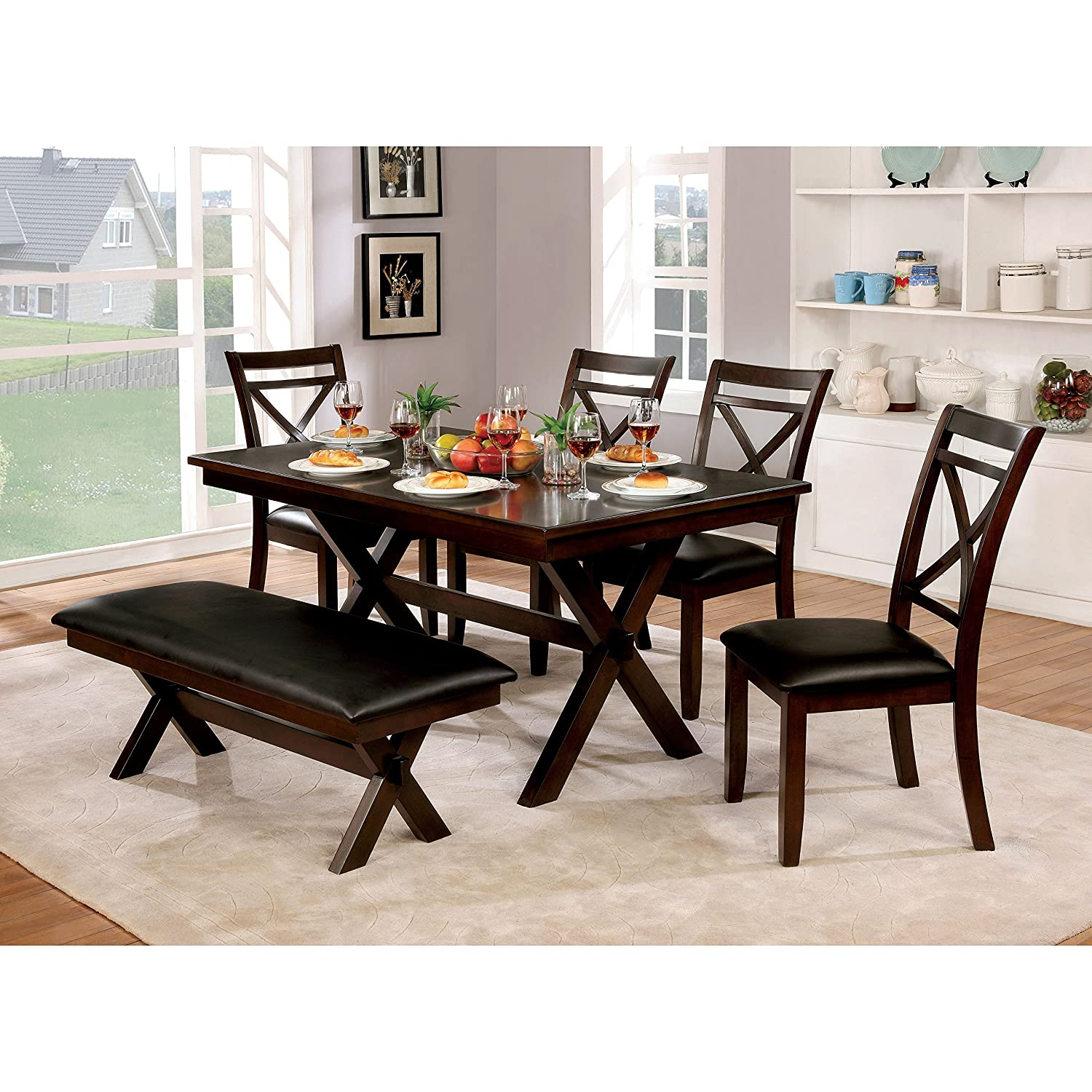 Amazon Furniture of America Clevelan Dark Cherry Wood 60 inch