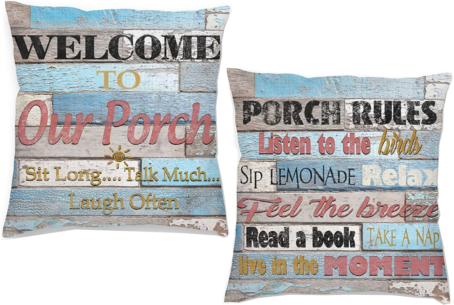 DZGlobal Welcome to Our Porch Pillow Covers Porch Rules Relax Sit Long Talk Much Wooden Pillowcase Home Farmhouse Decor Outdoor Pillowcases for Patio Furniture 18x18 Set of 2