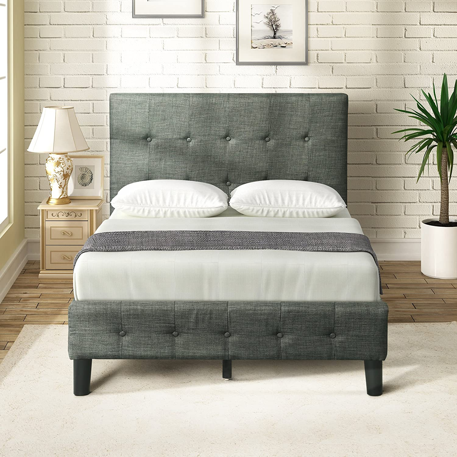 Harper Bright Designs Upholstered Platform Bed with Wooden Slat Support and Tufted Headboard and Footboard Twin