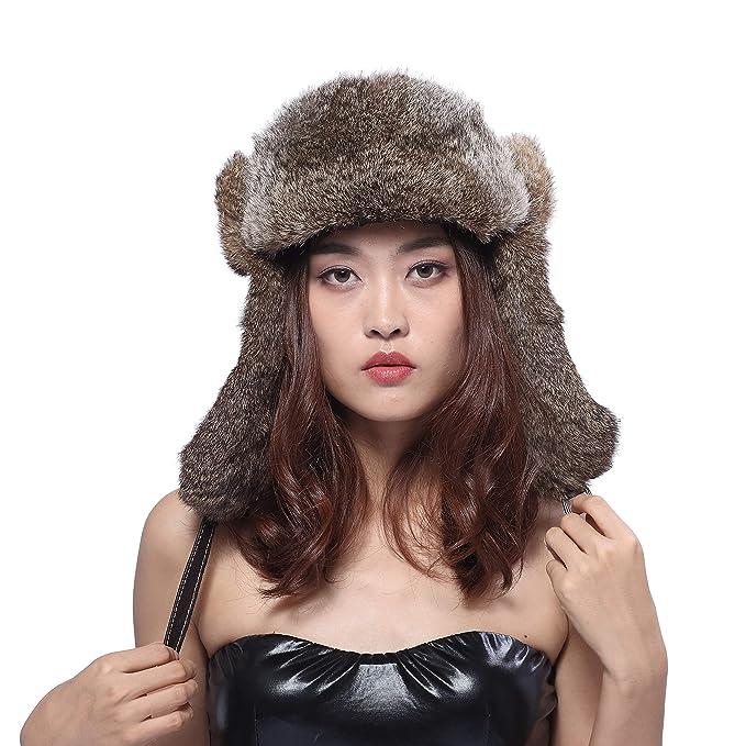 BeFur Sombrero de pelo de conejo de aviador, gorra de piloto para hombres, gorro de caza de invierno, Marrón: Amazon.es: Ropa y accesorios