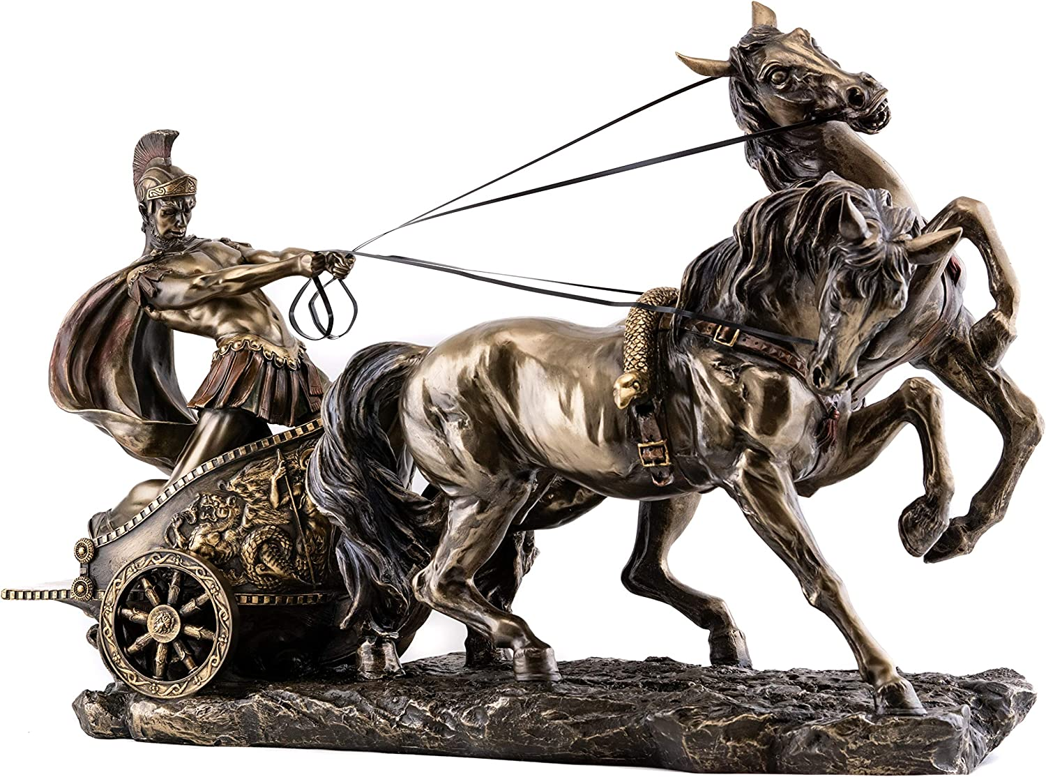 Top Collection Large Ancient Roman Chariot Statue -Politician and Military General Julius Caesar Sculpture in Premium Cold Cast Bronze-15.75-Inch Collectible Museum Grade Horse Carriage Figurine