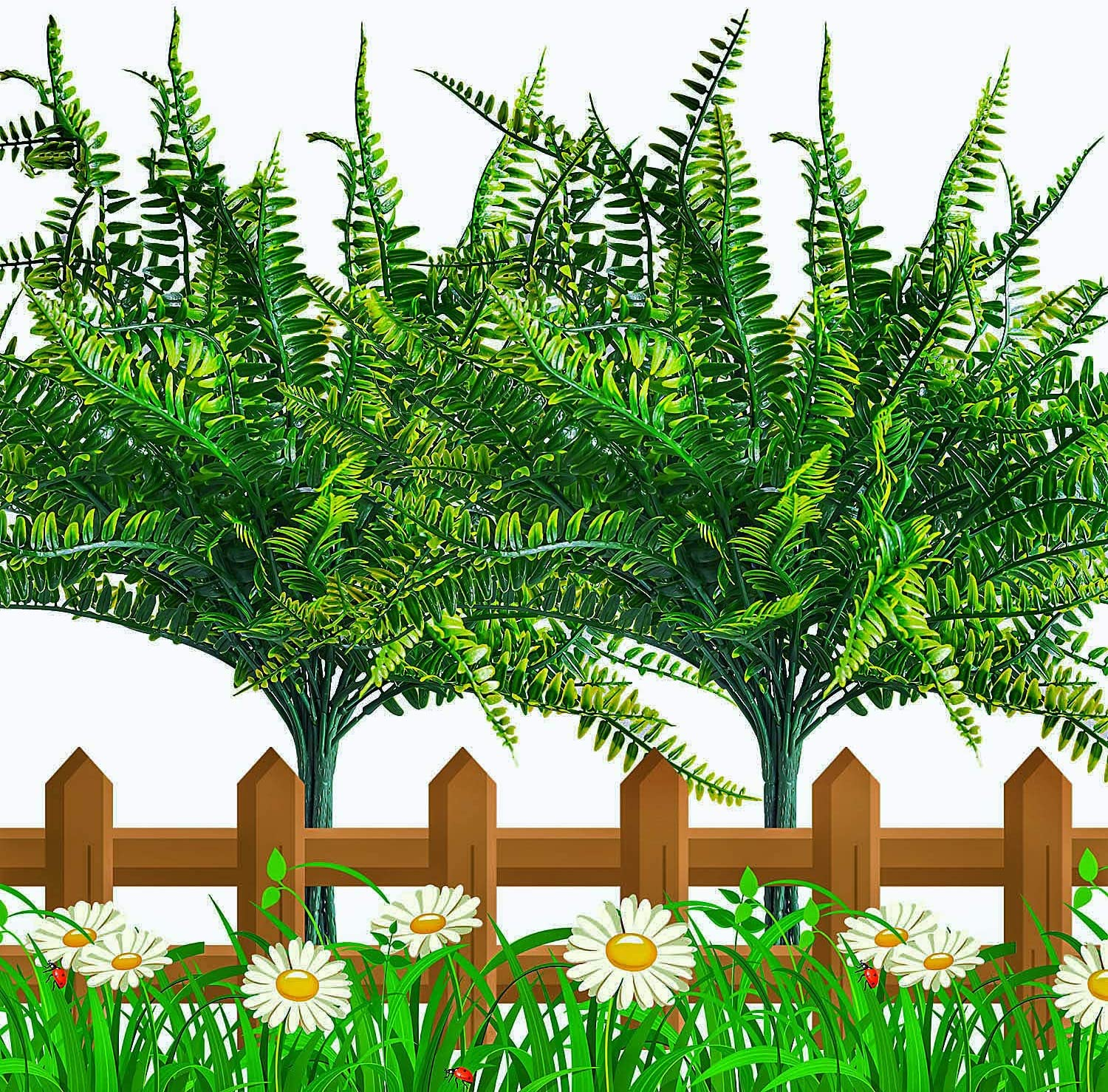 10 PCS Artificial Fern Plants, Faux Boston Fern Bush, Fake Indoor Outdoor UV Resistant Greenery Shrubs, Plastic Grass Leaves Flowers Plant for Hanging Planter Windowsill Office Garden Christmas Decor