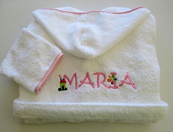 Personalizado juego de albornoz y toalla para bebé con capucha - nombre (10 cartas): Amazon.es: Hogar