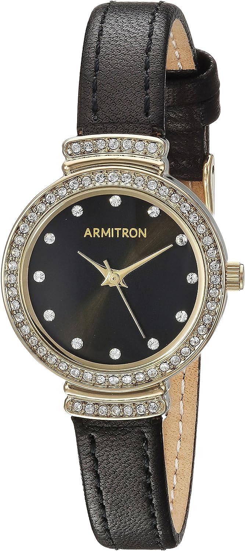 Armitron Women s 75 5491BKGPBK Swarovski Crystal Accented Gold-Tone and Black Leather Strap Watch