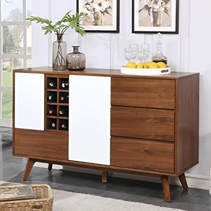Amazoncom Furniture Of America Liman Mid Century Modern 2 Tone