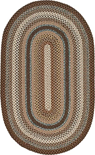 Safavieh Braided Collection BRD313A Hand-woven Reversible Area Rug, 9 x 12 Oval, Brown Multi