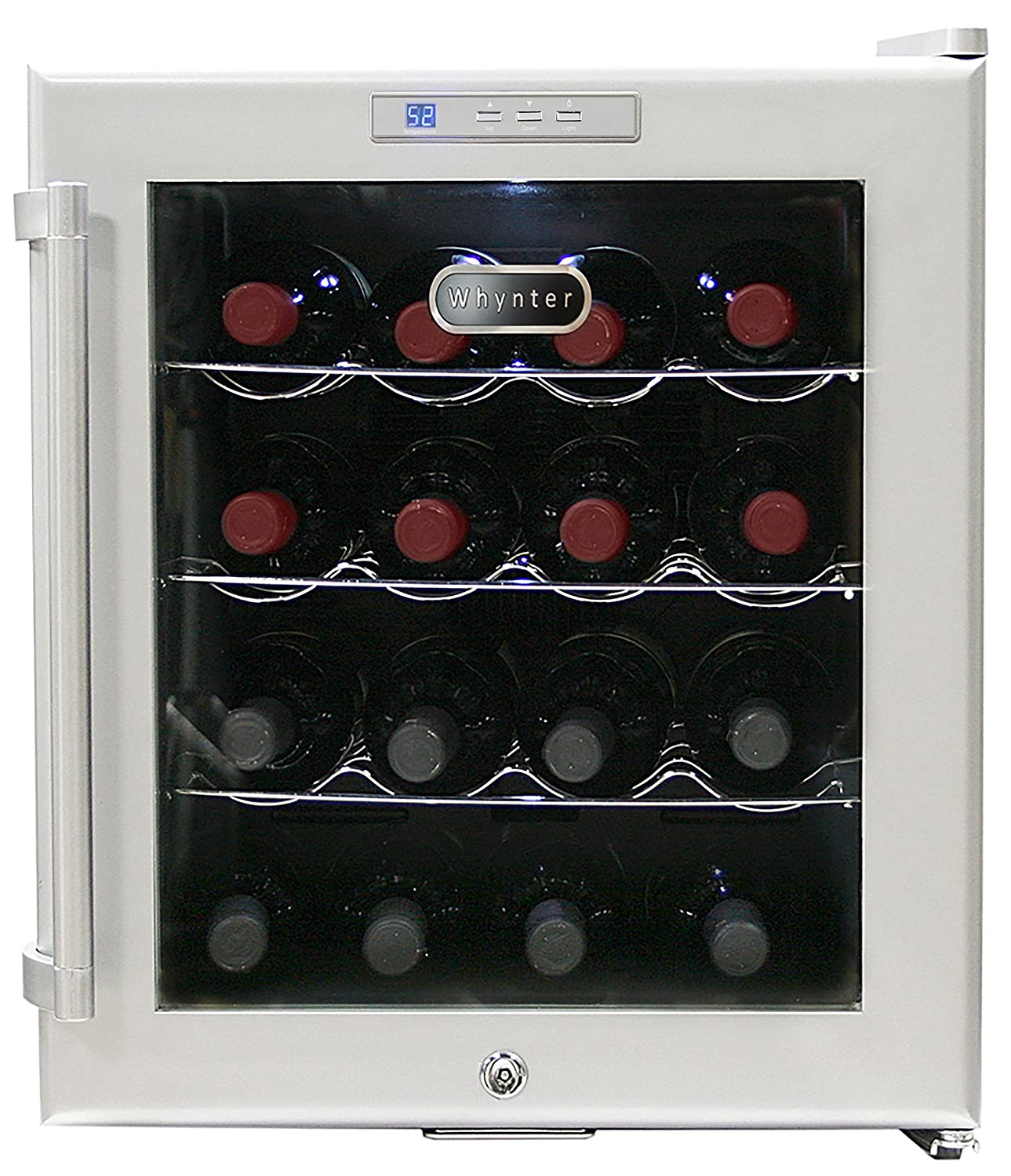 Whynter WC-16S SNO 16 Bottle Wine Cooler, Platinum with Lock