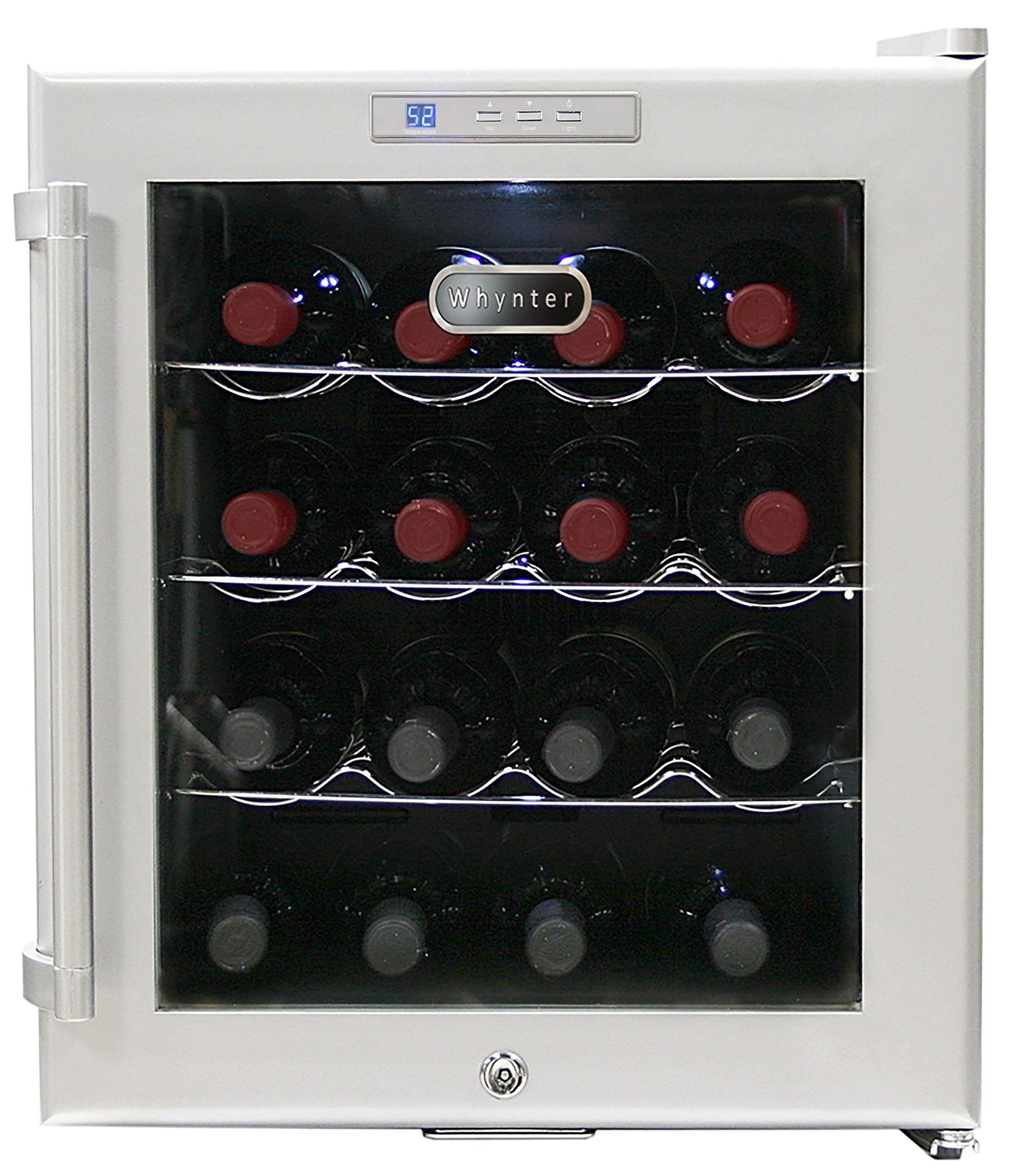 Whynter WC-16S SNO 16 Bottle Wine Cooler, Platinum with Lock by Whynter
