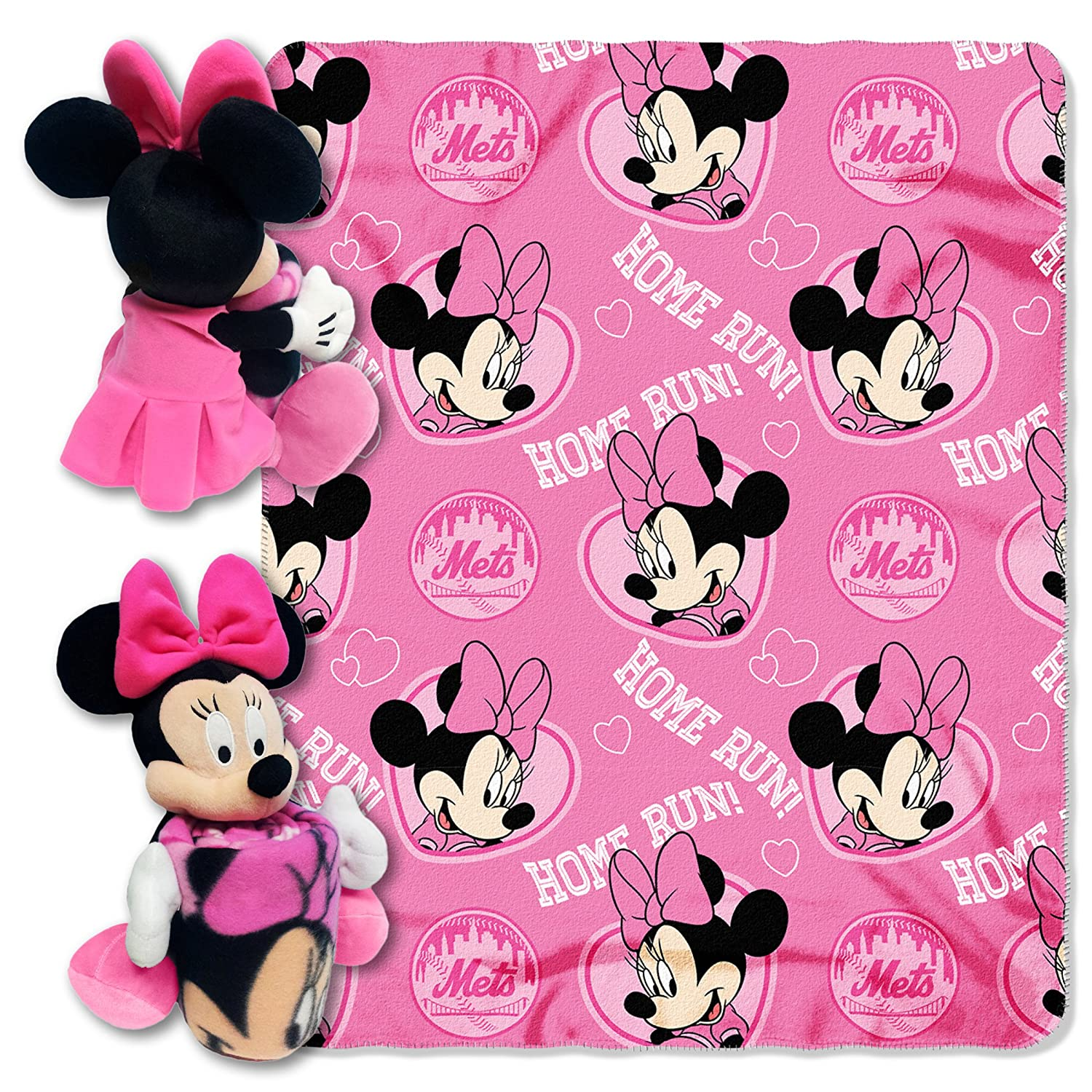 "Officially Licensed MLB & Minnie Cobranded Hugger Fleece Throw Blanket, Soft & Cozy, Washable, 40"" x 50"""