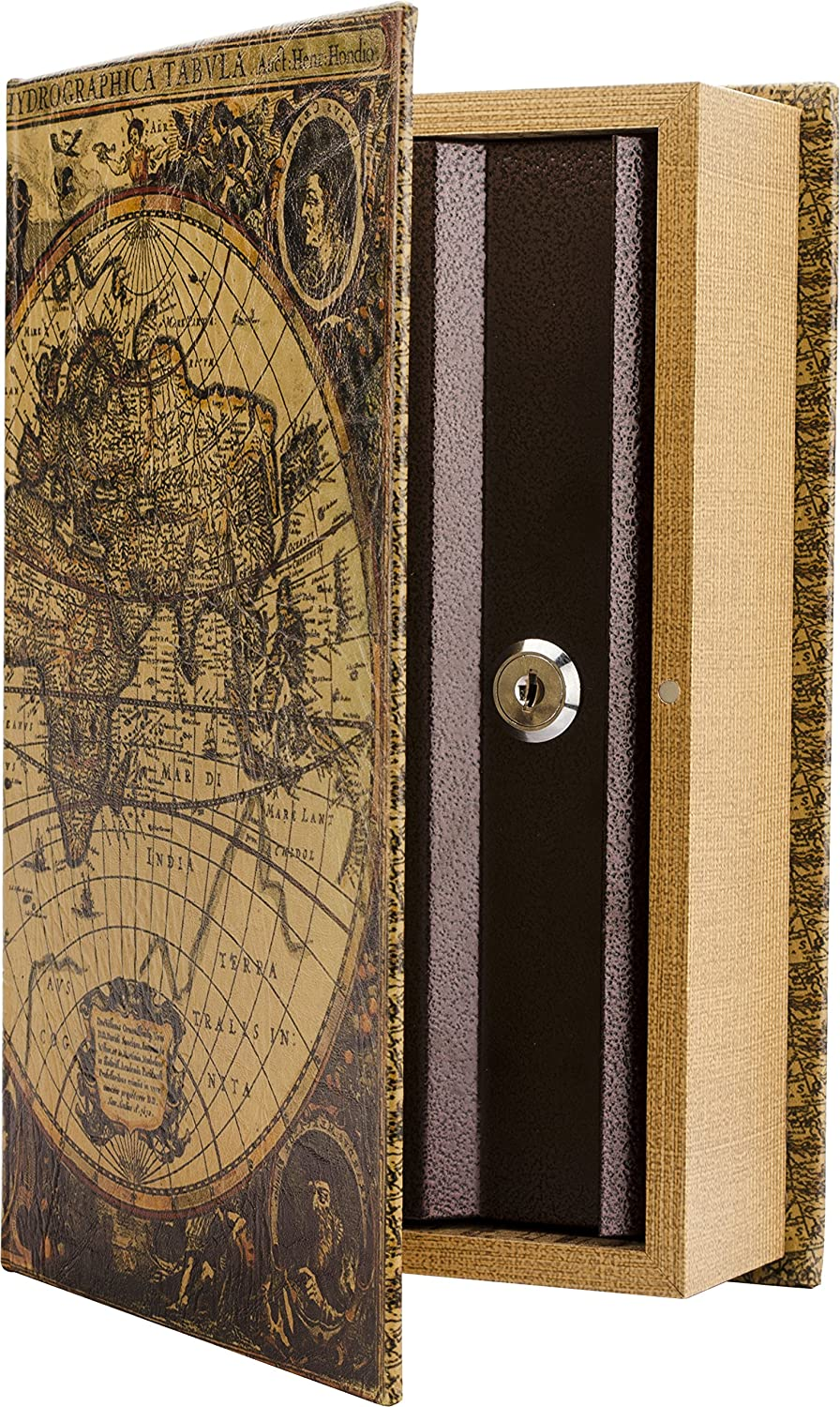 BARSKA CB12480 Key Lock Antique Map Diversion Book Safe Lock Box