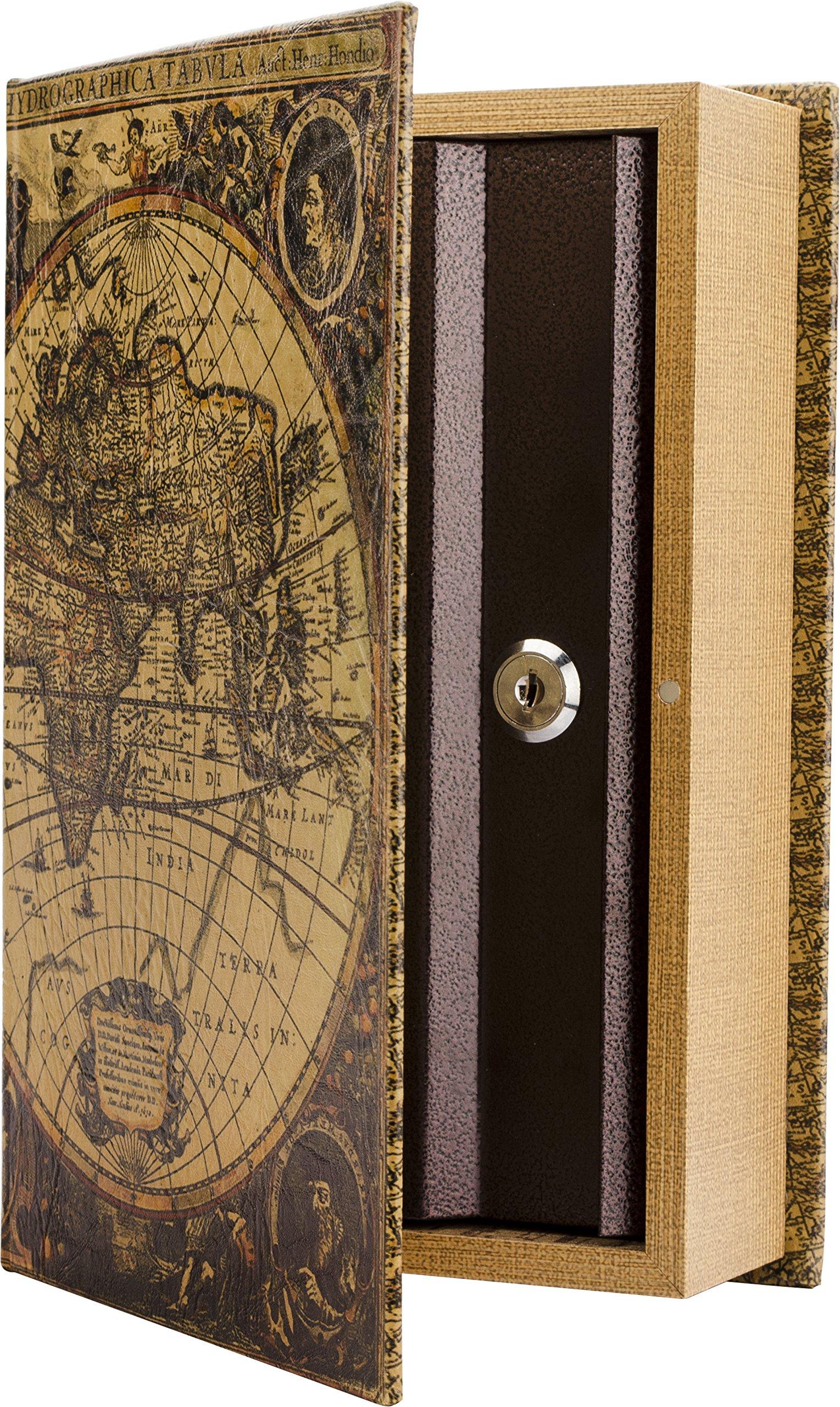 BARSKA Antique Map Diversion Book Lock Box, Multi by BARSKA