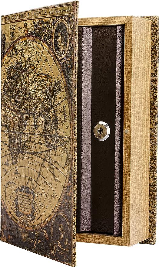 Amazoncom Barska Antique Map Diversion Book Lock Box Multi - Antique map box