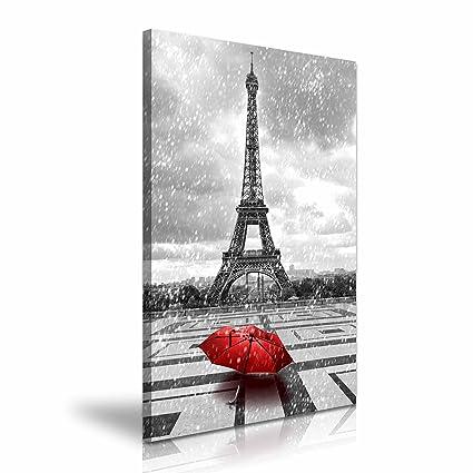 París Torre Eiffel lluvia paraguas rojo lienzo impresión 50 cmx76 cm