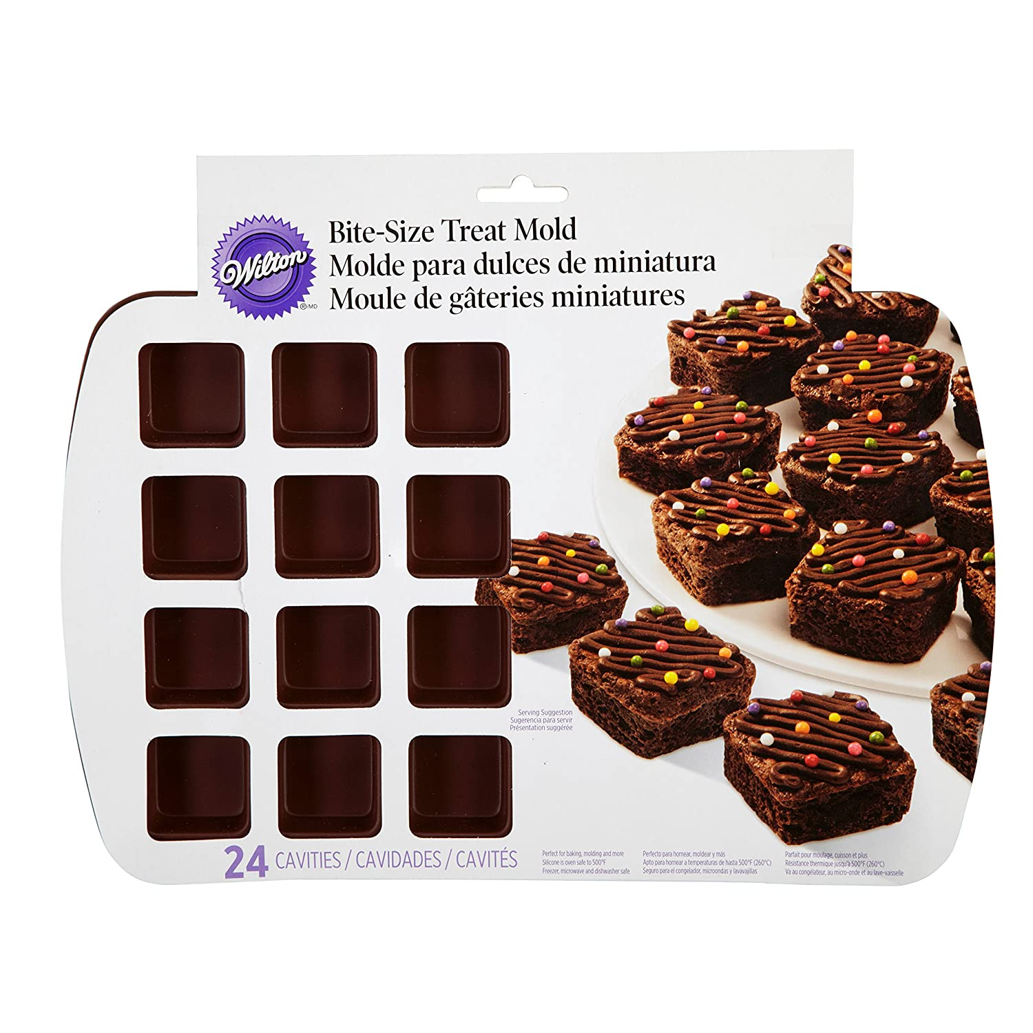 Amazon.com: Wilton 2105-4923 24-Cavity Silicone Brownie Squares Baking Mold (Set of 2) [Colors May Vary]: Kitchen & Dining